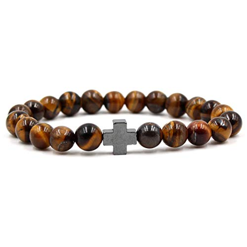 BaiYunPOY 8mm Handmade Charm Prayer Beaded Yoga Bracelet for Men Women - Natural Energy Beads Bracelet Healing Bangle - Tiger Eye Black Cross