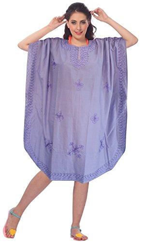 La Leela dames 5 en 1 léger rayonne douce Tunique brodée soirée décontractée robe bikini kimono maillots de bain couvrir loungewear beachwear plus courte casual nuit caftan lavande