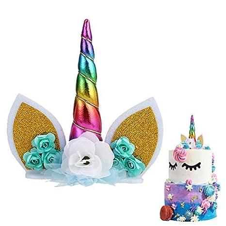 SuperCat Decoración para Tarta de Unicornio Hecha a Mano con Flores de Unicornio y Orejas de