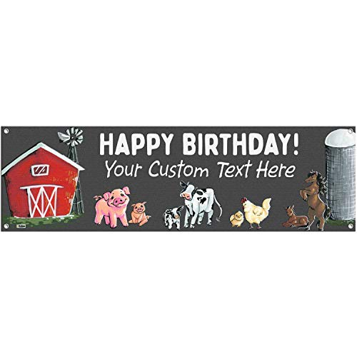 (Cohas Farm Theme Custom Happy Birthday Banner Includes 16 by 52 Inch Vinyl Banner with Metal Hanging Rings and Custom Text)