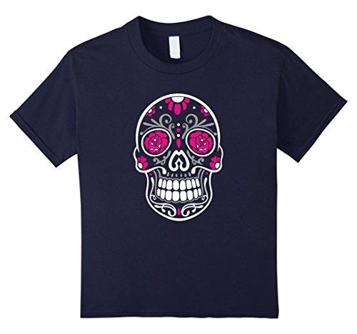 Kids Halloween Shirt. Sugar skull with roses, day of the dead. 12 (Muerte Sugar Skull Costume)