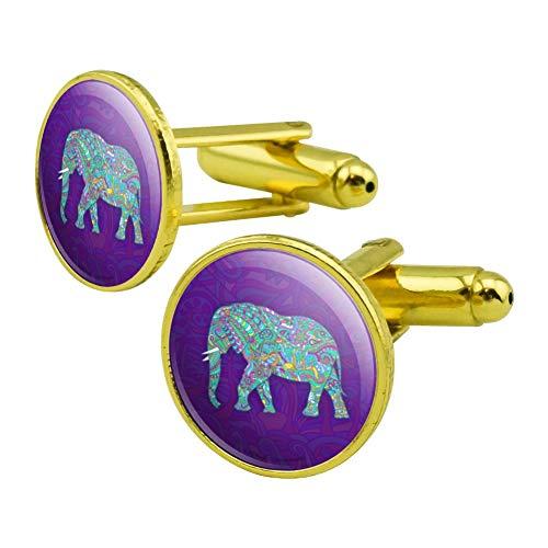 GRAPHICS & MORE Mosaic Elephant Round Cufflink Set Gold Color