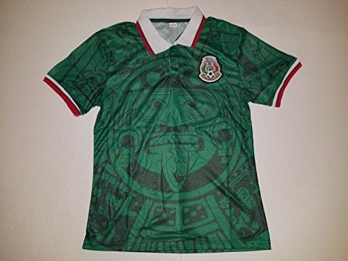 Soccer Men's Green Mexico 1998 Replica Retro Jersey (Medium)