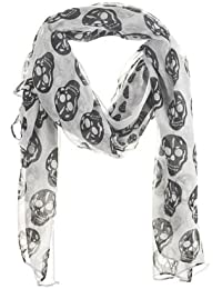 Halloween Skull Scarf - Large Black and White Neck Scarf