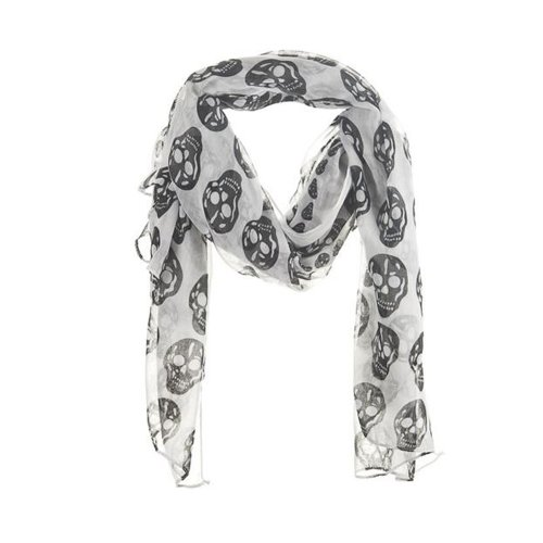 Ganz Halloween Skull Scarf - Large Black and White Neck Scarf by Ganz -