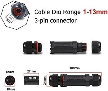 negro, PVC cable el/éctricoCajas de conexiones para cable 1mm-13mm para iluminaci/ón de jard/ín cajas de conexiones 3 Pack conector de cable exterior impermeable IP68 con 3 polos