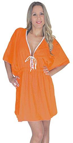 La Leela viscosa profunda v sólida bikini playa oscura cubierta elástica a las mujeres Naranja