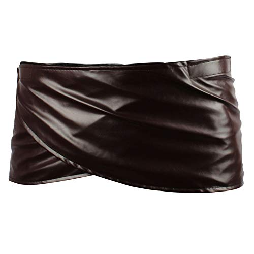 - Angelaicos Unisex Short Faux Leather Brown Miniskirts (S)