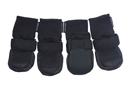 LONSUNEER Paw Protector Dog Boots Set of 4 Breathable Soft Sole and Nonslip Color Black in 5 Sizes