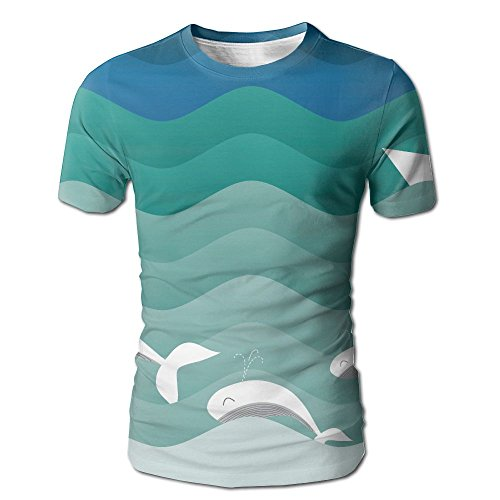 JeanCo Men's Nautical Theme With Paper Boat Sea Happy Dolphins Classic Tshirt White - City Party White Suspenders