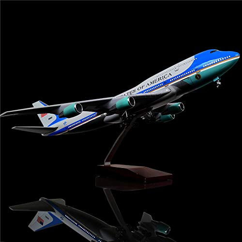 LESES 1:130 Scale LED Light Model Airplane Airforce one Boeing 747 18 inches Resin Display Plane Model