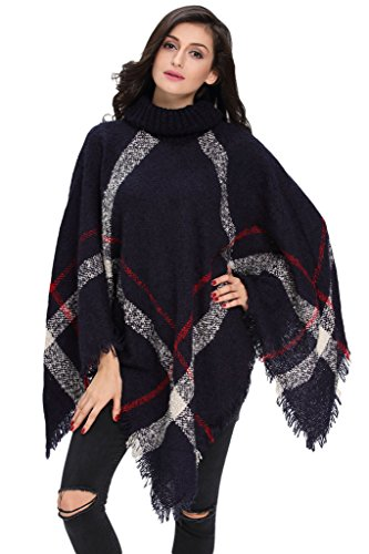 HOTAPEI Fall Long Pullover Turtleneck Poncho Sweater Women Loose Tops Navy
