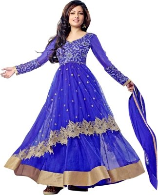 Clickedia Womens Net Anarkali Dress Material Riya Sen Blue Free Size