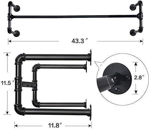 soporte de tubo industrial f/ácil de montar ahorra espacio Soporte de secado de pared adecuado para espacios peque/ños.