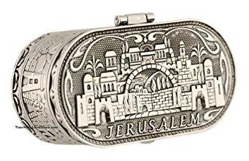 Jewish Shabbat Travel Candle Holders - Jerusalem Candlesticks - Judaica Nickel ()