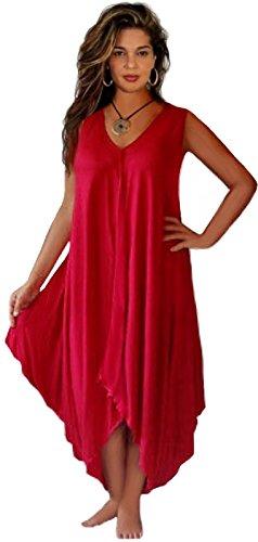 LOTUSTRADERS Damen Lagenlook Midi Kleid Red yEIoYa84dK