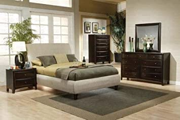 coaster home furnishings 300369kw casual contemporary bed king beige - Coaster Bed Frame