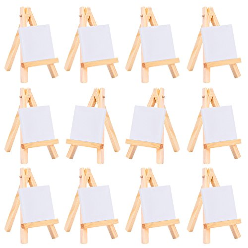 eBoot 3 by 3 Inch Mini Canvas and 3 by 5 Inch Mini Wood Easel Set for Painting Drawing Craft, 12 Pack
