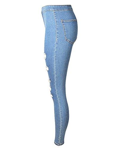 Pantalone Matita Strappati Washed Elastico Denim Unita Pantaloni Tinta Alta Jeans Chiaro Skinny Lunghi Vita Blu Leggings Donna xOABdwx