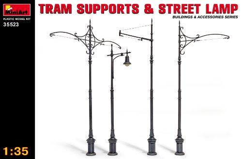 MiniArt 35523 Tram Supports and Street Lamps, Buildings and Accessories Collection 1/35 Scale Model Kit