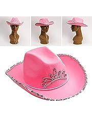 ZEREA Kapelusz kowbojski zachodni styl wełna/filc tiara kowbojski kapelusz dla kobiet dziewczyn, różowy kapelusz kowbojski czapka święta kostium impreza kapelusz
