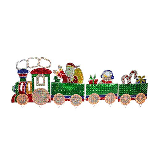 LB International 8.5' Synthetic Holographic LED Lighted Motion Train Set Holiday Outdoor Decoration 4-Piece, Green and Red