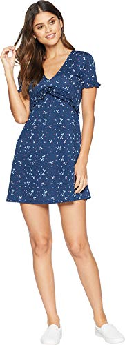 Juicy Couture Women's Floral Print Ruffle A Line Dress Regal Forget Me Not Medium -