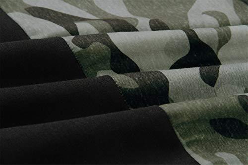 Cremallera Playera Negro Manga Color Camuflaje Ejército De Subido Alto Delantera Militar Camo Top Camiseta T shirt Bloque Contraste Cuello Tee Sudadera Pullover Larga Sweatshirt rqqgwIR
