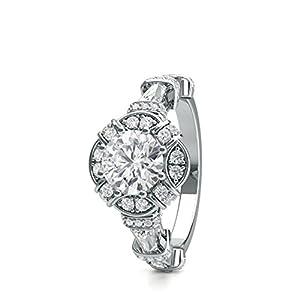 18K White Gold 8 Prong Setting Side Stone Halo Engagement Ring Size - 5.75