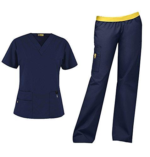 - WonderWink Origins Women's Medical Uniforms Scrubs Set Bundle- 6016 Bravo V-Neck Scrub Top & 5016 Quebec Elastic Cargo Scrub Pants & MS Badge Reel (Navy - Medium/Medium)