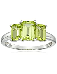 Sterling Silver Peridot Octagon 3-Stone Ring, Size 7