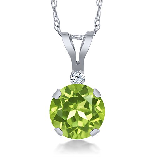 0.87 Ct Round Green Peridot White Created Sapphire 14K White Gold Pendant