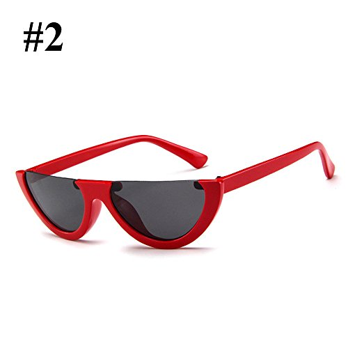 box Eye marco Hanbaili Cat Sunglasses Vintage medio red Mujer Ladies Eyewear Sexy para grey Moda wxwRpqC