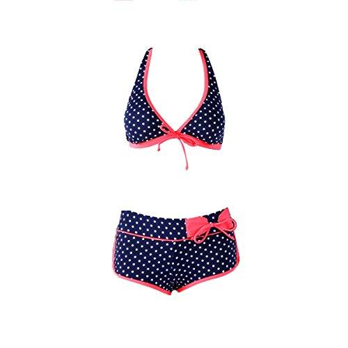 Playa Del Vendaje Que Cuelga Del Cuello De Dos Piezas Traje De Baño Traje De Baño Atractivo Bikinis Spa Blue