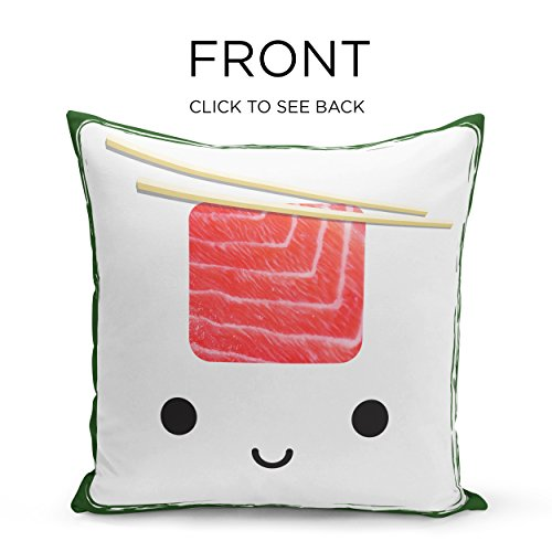iNuvole Cute Cuisine Collection Burger and Sushi 18 x 18 inches Decorative Silky Soft Throw Pillow Covers with a Double-sided Print for Couch