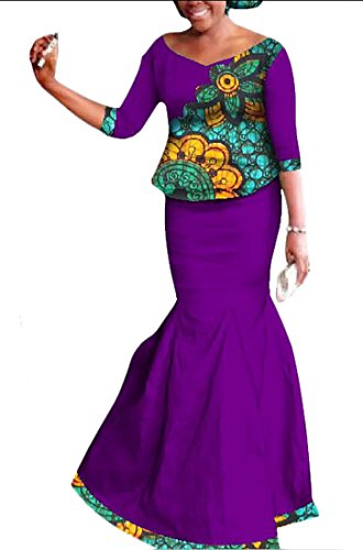 [GAGA Women African National Costume Suit Printed Bodycon Party Maxi Dress 1 M] (Costume National Suit Sale)