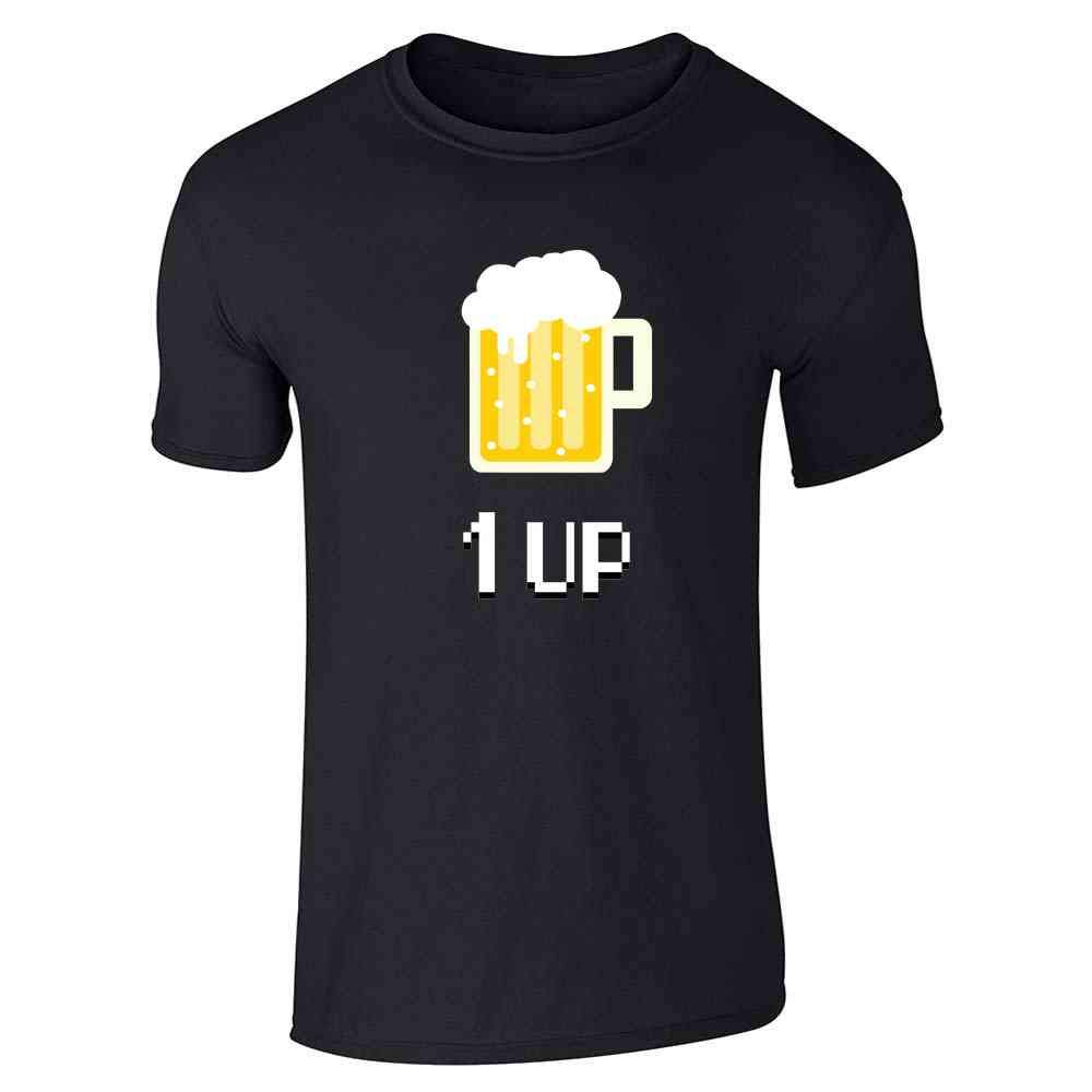 Beer 1up Retro Video Game Funny Short Sleeve Tshirt