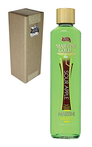 Master of Mixes Martini Gold Sour Apple Drink Mix, 375 ml Glass Bottle (12.7 Fl Oz), Individually Boxed (Martini Apple Sour)