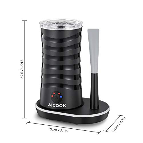 Milk Frother Aicook, Electric Milk Steamer with Hot/Cold Milk Foaming Functions, 4 Modes, 360° Lighting Base with Silicone Scraper, Automatic Milk Frother and Warmer for Coffee, Latte, Cappuccino by AICOOK (Image #7)