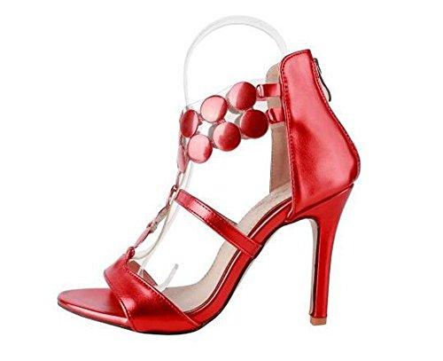 Beauqueen Bombas T-Correa de punta abierta Stiletto de tacón alto Summer Zipper sandalias Oficinas de tamaño personalizado de Europa 32-46 Red