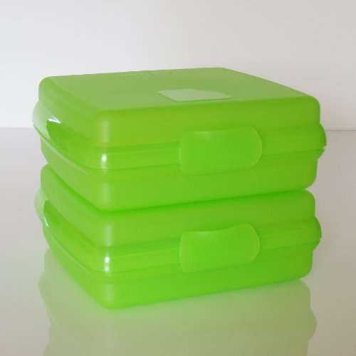 Tupperware Set of Two Sandwich Keepers. Lt Green