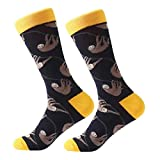 Men's Fun Dress Socks Patterned Crew Colorful Funky Fancy Novelty Funny Casual Socks for Men (1 Pair-Sloth)