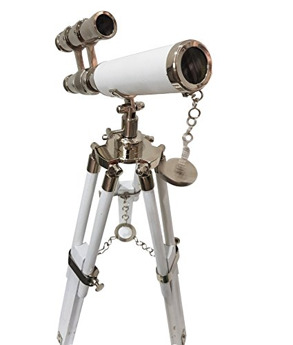 Double Barrel Marine White Leather Covered Telescope Nautical Handmade White Tripod Fully Functional and Fully White And Nickel telescope Antique Home Decoration - Table Top Tripod Telescope from collectiblesBuy