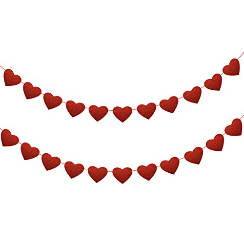 Konsait 39.4FT/60Heart Glitter valentine Heart Garland Banner PVC Love Heart Bunting Decoration for Valentine's Day party, Wedding Anniversary, Engagement, Bridal Shower, Birthday Party Decor Backdrop Party Supplies