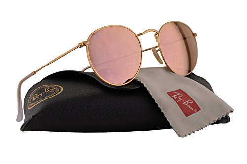 55c2faa44b0 Ray Ban RB3447 Round Metal Sunglasses Matte Gold w Brown Mirror Pink Lens  11222 RB 3447  Amazon.co.uk  Clothing
