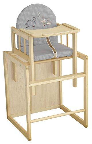Funktionaler Kinderhochstuhl in Holz natur mit Sitzpolster im Elefanten-Design. Tischmaß 54x46x44 cm
