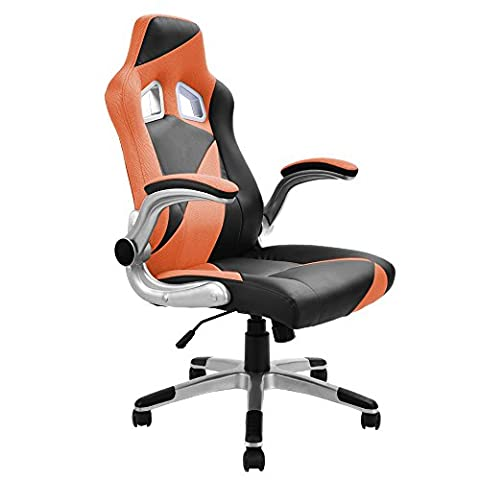 LTL Orange and Black Bucket Seat Racing Style Office Chair (Turn Concrete Into Gold)