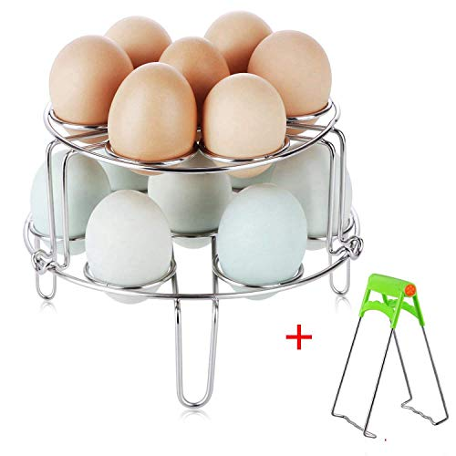 Upintek 2 Piece Steamer Rack for Instant Pot, Stainless Steel Stackable Egg Steam Stand Vegetable Pressure Cooker Steaming Racks Set with Kitchen Plate Gripper