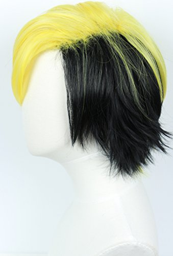 Linfairy Short Black Layered Cosplay Wig Halloween Costume Wig for Men