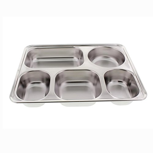Cheftor Stainless Steel 5 Meal Compartments Cafeteria Serving Tray Lunch Bento Box School Container with Plastic Lid